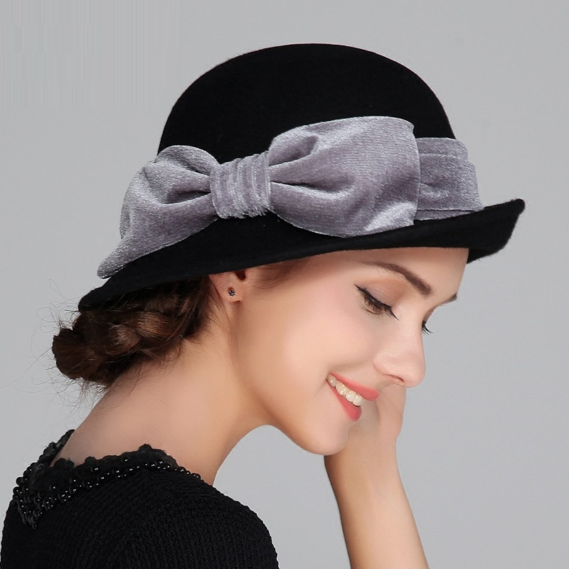 58a85826982 Lady New Autumn and Winter Hat Female British Wool Hat Small Hat Korean  Curling Shaping Cap Bow Decoration B 4186-in Skullies   Beanies from  Apparel ...