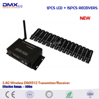 Free Shipping 3 Years Warranty 15pcs Mini DMX Receiver 1pcs 2 4G LCD Dmx512 Wireless Receiver