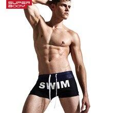 Superbody 2017 New Swimming Trunks Men Swimwear Boxer Beach Shorts Men's Spa Bathing Slips Nylon Stretch Mens Sexy Swimsuits