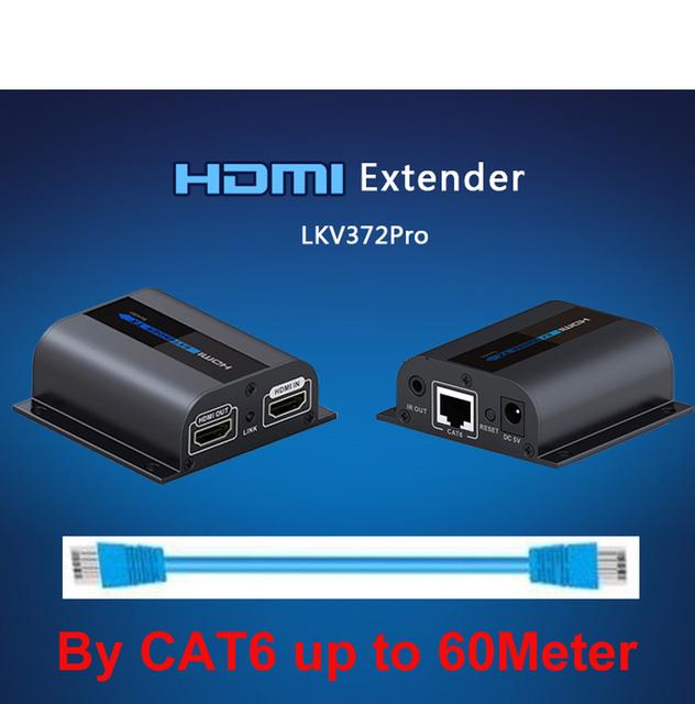 LKV372Pro HDMI extender 1080 P HDMI de señal hasta 60 m sobre un único cable de red CAT6 Extensor HDMI w/Loop-fuera e IR AV adaptador sin paquete