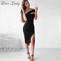 Deer Lady New Arrivals 2017 Bodycon Bandage Dress Black Side Slit Dress Vestidos Sexy Rayon White