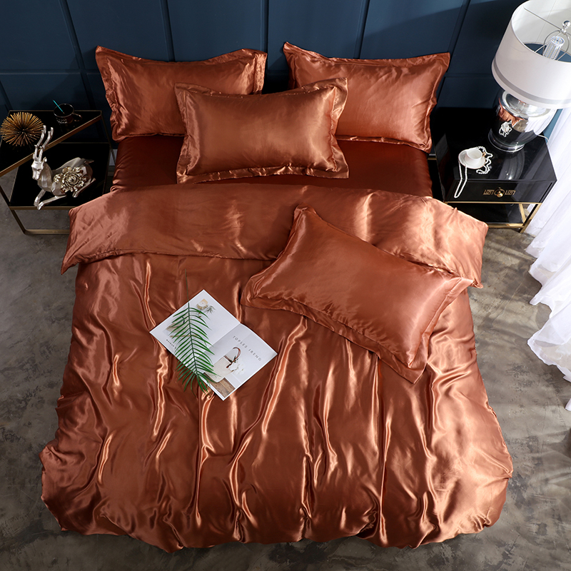SlowDream Coffee Healthy Bedding Set 100 Silk Luxury Fitted Sheet Elastic Band Duvet Cover Double Queen Euro Adult Bedspread in Bedding Sets from Home Garden