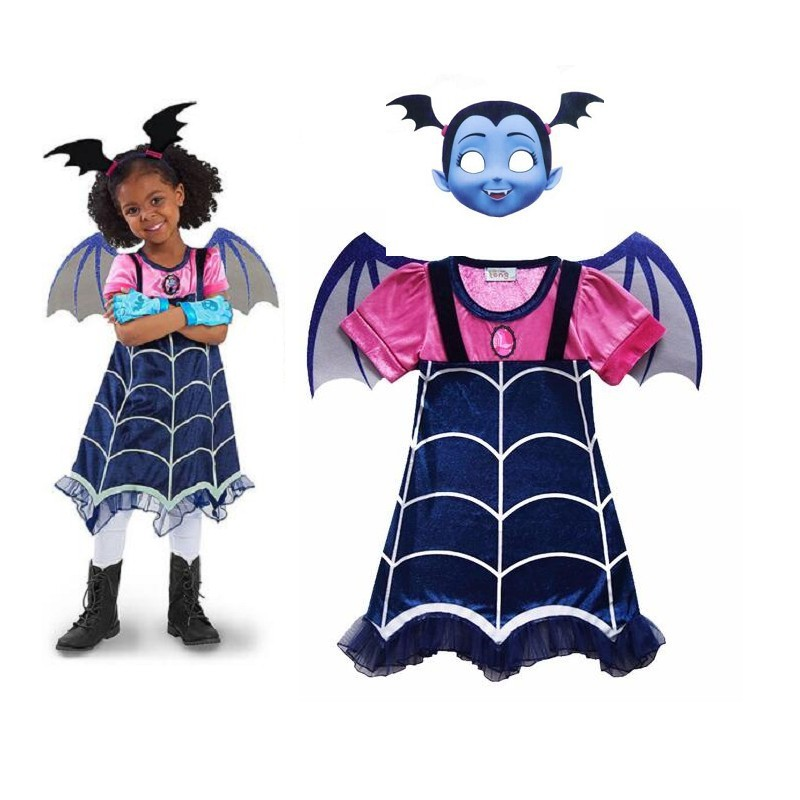 CHILD Vampirinas Hallowee Cosplay Costumes Children Clothing Sets Girls Kids  party Carnival Clothes Vampirinas dress  WING mask