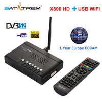 X800 HD satellite tv receiver HD DVB-S2+USB WIFI decoder 1 Year Europe 8 lines  Digital satellite Receiver