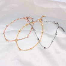 High Quality Rose gold/Silver Bead Chain Bracelet For Women Ankle Anklet Stainless Steel Hand Accessories Jewelry(China)