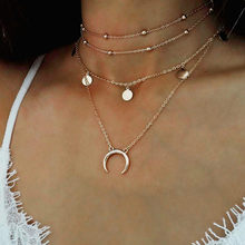 2019 Oro Catena Multi strato di Luna Della Collana Del Choker Per Le Donne Beads Coin Chocker Collane con pendente Collares Mujer collier femme(China)