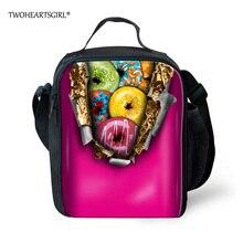 Twoheartsgirl пончик печатных обед мешки для женщин настроить Lunch Box сумка для детей мужчины портативный тепловой пищевых с сетчатый карман