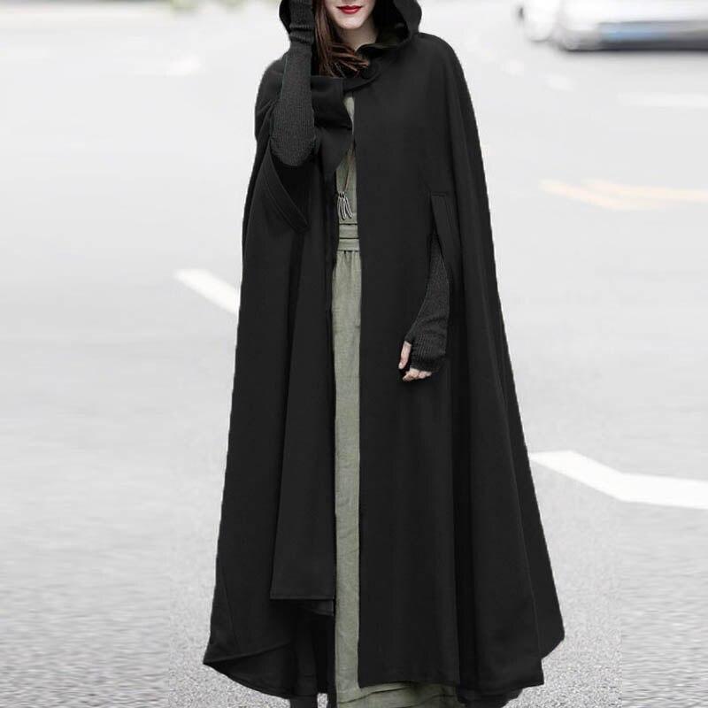 ZANZEA Solid Hoodies Waterfall irregular Irregular Long Coat Cardigan Women 2019 Winter Fashion New Retro Black Cloak Poncho NEW
