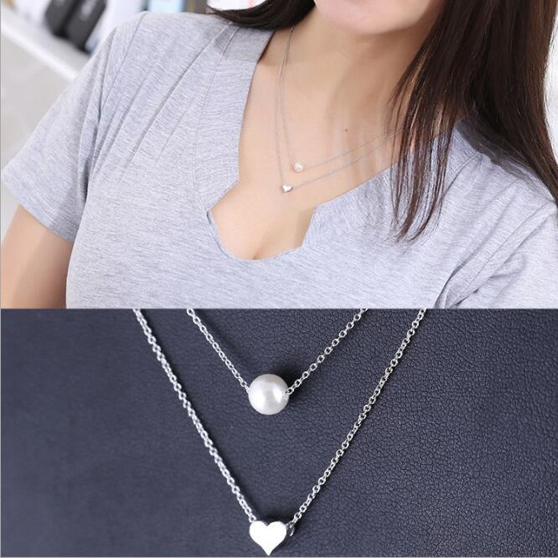 Hot Sale Popular 925 Sterling Silver Jewelry Fashion Pearl Love Double-layer Integration Female Personality Necklace H237