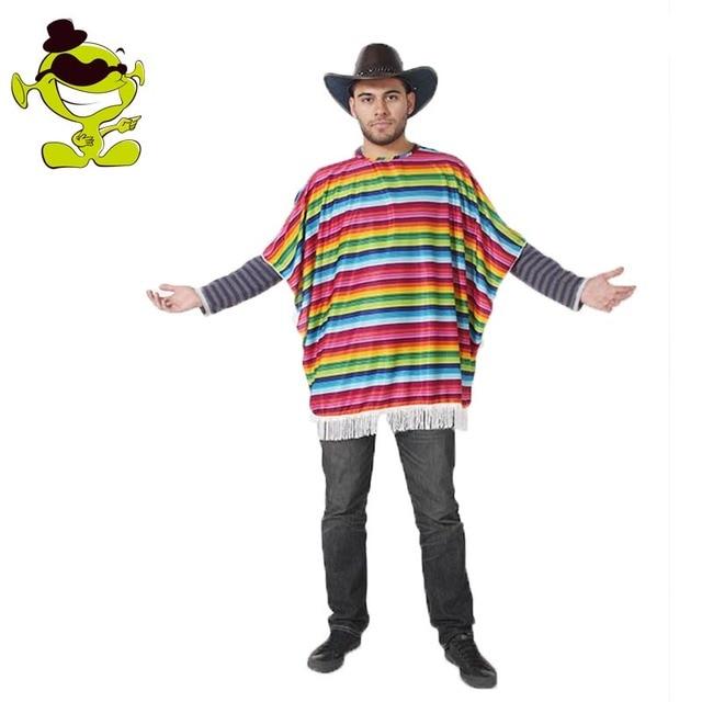 8ec67b4d1778 Для мужчин мексиканской накидка костюм Детский костюм для вечеринок Радуга  Цвет Полосатый взрослых Карнавальная одежда для