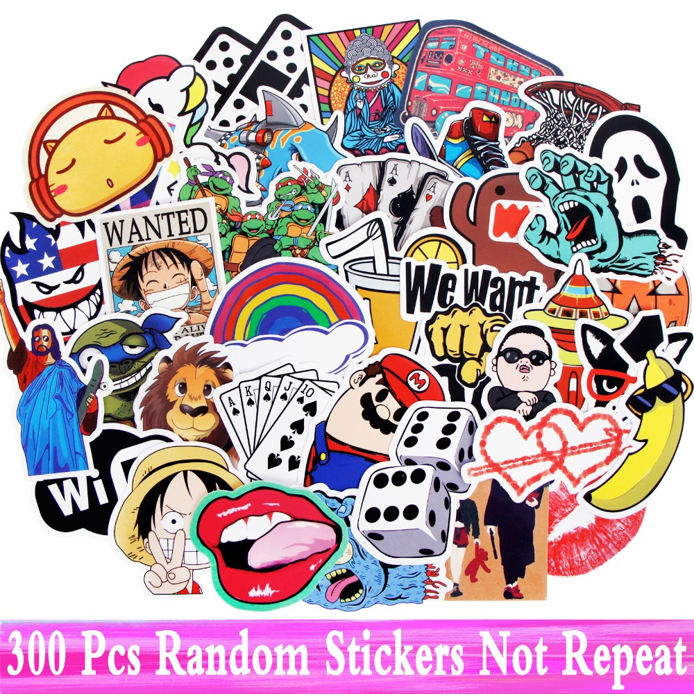 300 PCS Stickers Fashion Mixed Funny High Quality Cartoon DIY Bike Motocycle Notebook Waterproof Stickers For JDM Toy Play Gift