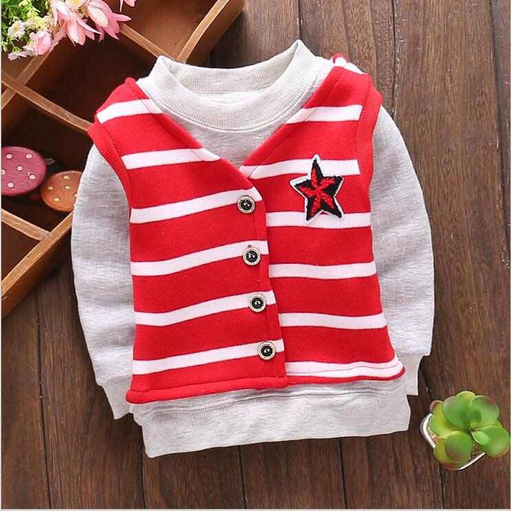 2016 new fall fashion boy and girl thicker long-sleeved clothes and baby striped vest 2 PCS / set + free gift