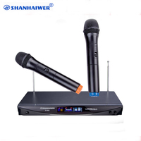 VHF 2 channel handheld ktv wireless microphone kit Receiver LCD display moving coil cordless system karaoke singing megaphone