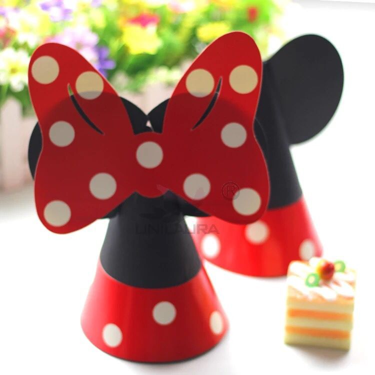 DIY 4pcs Mickey Minnie Red Mouse Decoration Hat Kids Birthday Cap Paper Conical Hat Theme Party LUHONGPARTY