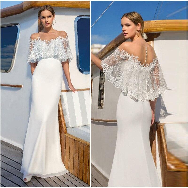 Dentelle à volants longue robe femmes maille pure Patchwork Sexy salopette élégante dames robes slim épaule dentelle blanche longue robe