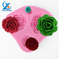 1PC Four-Hole Roses Fondant Cake Mold Chocolate Fondant Jelly Cookie Muffin Ice Mould Flexible Moulds Bake Tool Fast Shipping