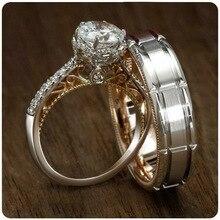 Anillos de Compromiso de pareja de circonita cúbica de cristal rellenos de oro para mujer y hombre