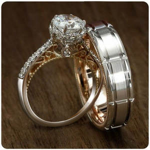Ring-Sets Couple Wedding-Band Gold-Filled-Crystal-Cz Engagement Fashion Jewelry Promise