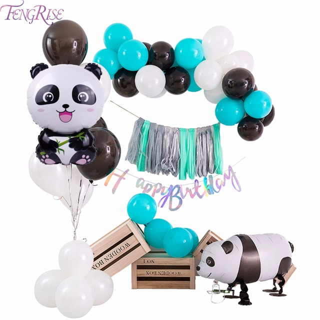 FengRise China Panda Balloon Black And White Birthday Balloons Party Decoration Kids Inflatable Animal Baloon