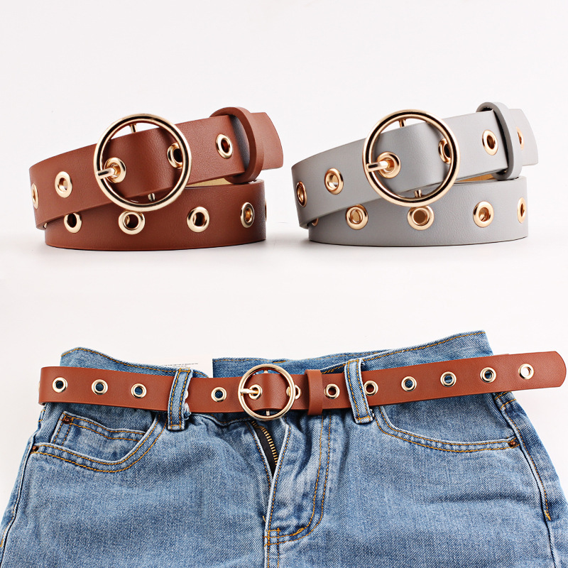 New Women's Belt Black Hollow Rivets Woman Waist Belts Leather Luxury Brand Slimming Belt Woman Feminine Strap Cinturon