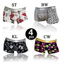 4 stks/partij Brand Hoge Kwaliteit Sexy Ijs Zijde Traceless Mannen Ondergoed Boxers Heren Boxershorts Cueca Underpants Gay ondergoed XL/XXL