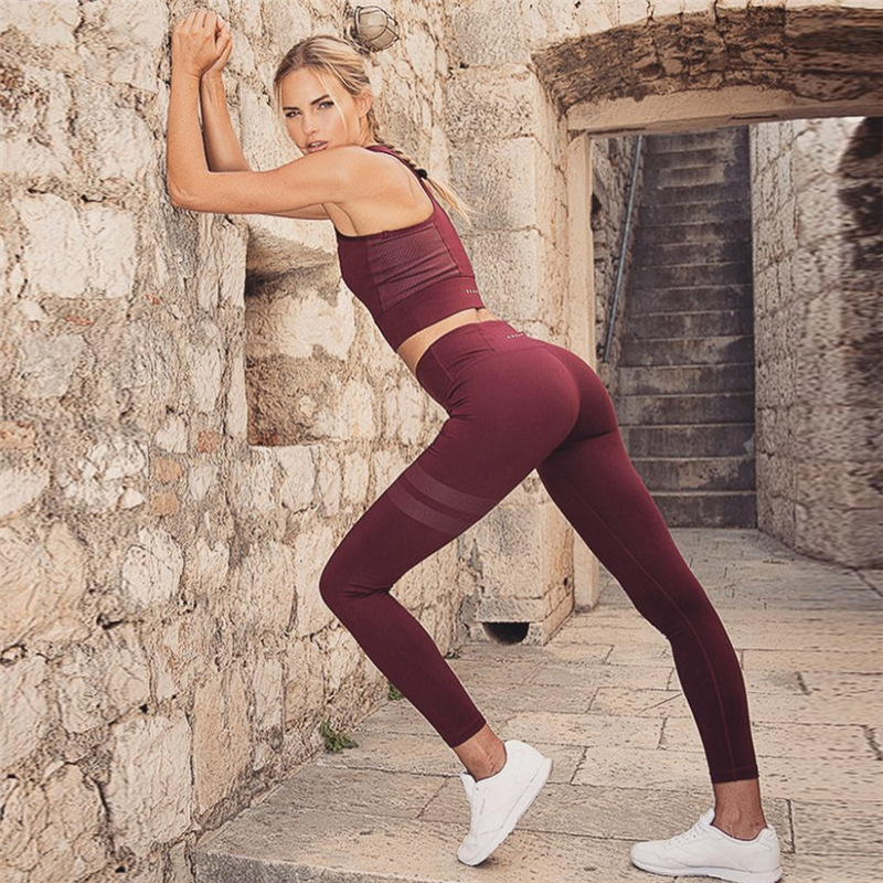 SVOKOR Solid Set Women 2018 Fashion Cotton Pure Sexy Breathable Mesh Patchwork High Waist Causal Pants Sportwear Set Female
