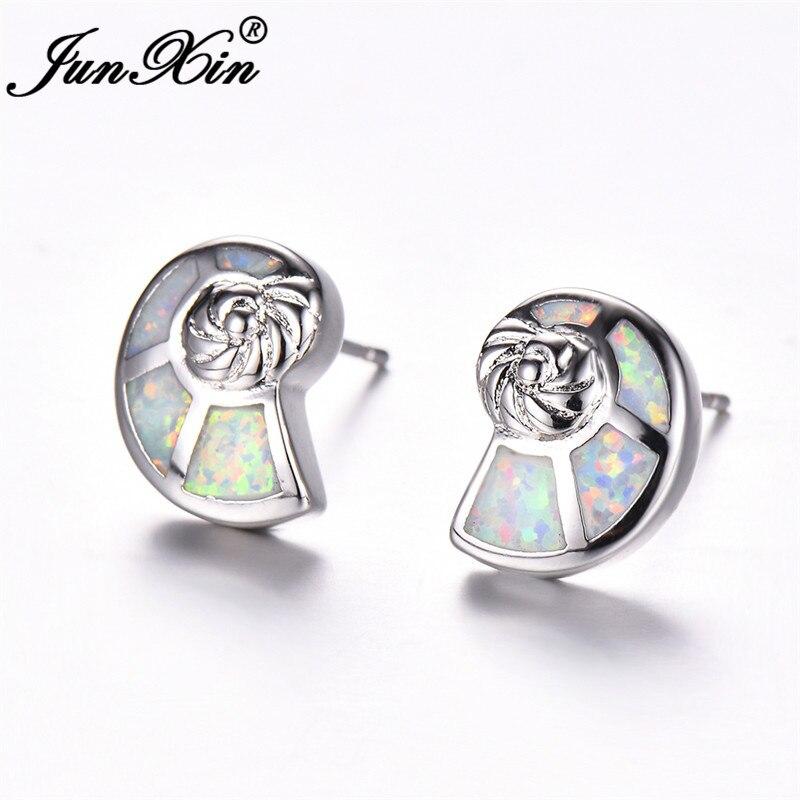 JUNXIN Cute Ocean Conch Stud Earrings For Women Silver Color Wave White Blue Fire Opal Earrings Female Wedding