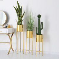 Nordic Indoor iron Gold Plant Pot Cafe Clothing Shop Display Flower Rack Gold Flower Pot Shelf Green Plant Pot Home Decoration