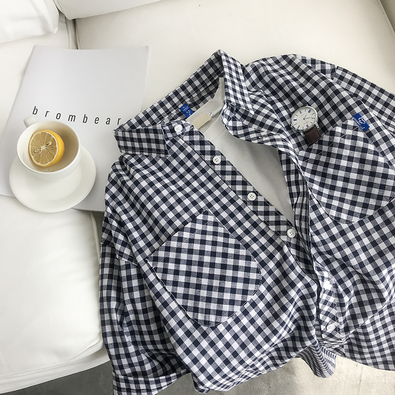 2018 Summer Leisure Time Four Color Lattice Short Sleeve Shirt Fixed Price The new listing Favourite Fashion Free shipping