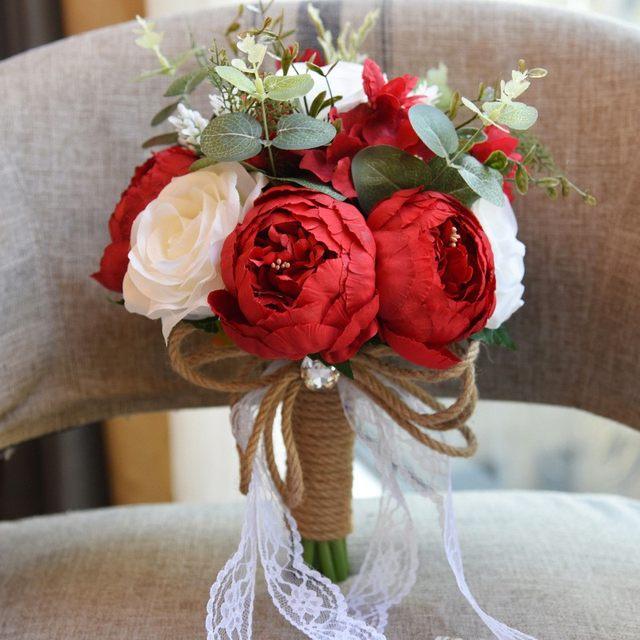 Online Shop Real Image 4 Color Rose Wedding Bouquets Bridal ...
