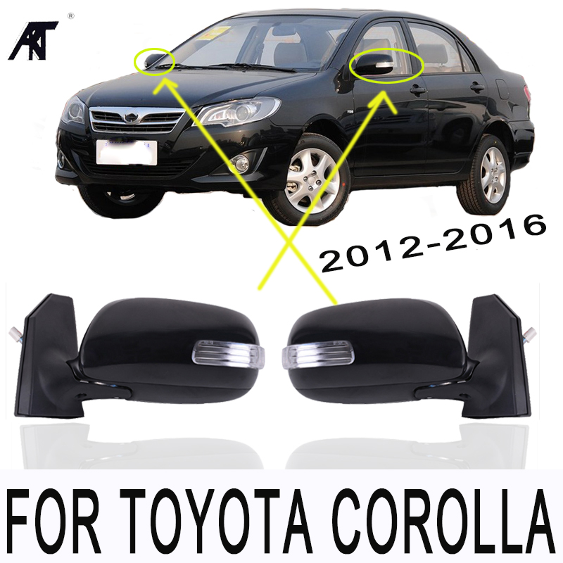 GOOD Outer rear view rearview mirror electric with LED turn signal FOR TOYOTA COROLLA 2012 2013 2014 2015 2016 5 pin/ 5Wire led strip headlights front lamps fit for toyota corolla altis 2014 2015 2016 head lamps with turn signal lamps