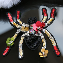 1pc spider sequins beaded patches for clothing DIY rhinestone Sew on animals patch Embroidery applique parche ropa