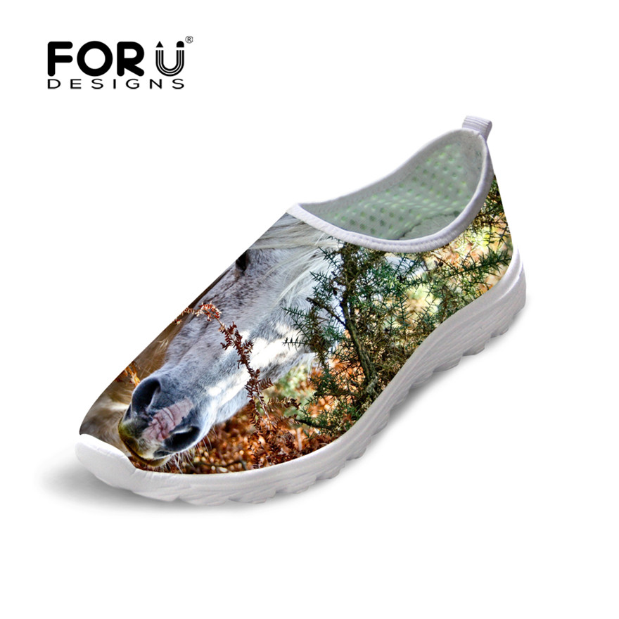 FORUDESIGNS Summer Women Flats Shoes Crazy Horse Pattern Women's Casual Breathable Mesh Shoes Woman Light Beach Shoes for Female free shipping candy color women garden shoes breathable women beach shoes hsa21