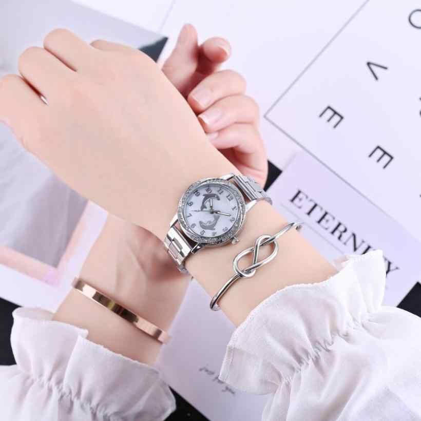 2018 thạch anh Đồng hồ nữ dây Thép không gỉ Quartz Analog Vòng Đeo Tay Đồng Hồ