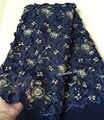 Темно-синий золотой бисером Французский кружевной ткани классический Африканский шитье Тюль Кружева с повторяющейся аппликацией блёстки 5...