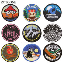 ZOTOONE Round Cat Mountain Patches Diy Stickers Iron on Clothes Heat Transfer Applique Embroidered Applications Cloth Fabric G zotoone round punk patches diy skull stickers iron on clothes heat transfer applique embroidered applications cloth fabric g