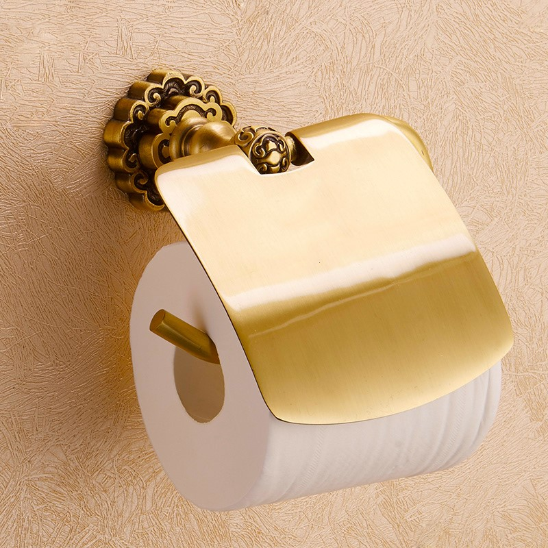 Solid Brass Bathroom Art Carved Toilet Paper Holder Wall