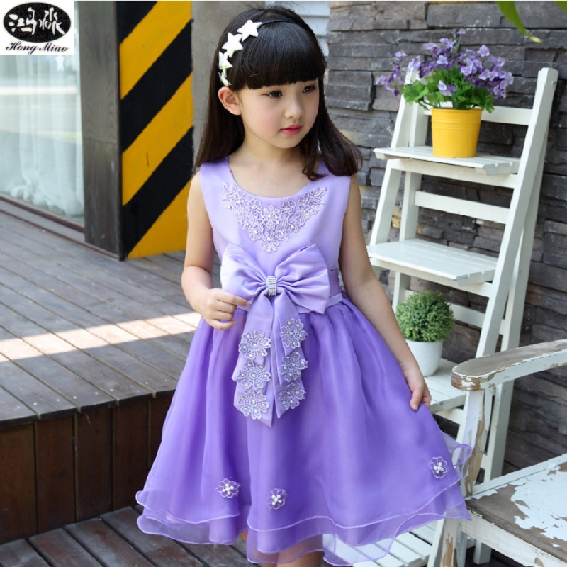 Girls Dresses Summer 2016 New Children Clothing Bow Flower Decoration Pink And Purple Princess Dress Girls Clothes 4-14 Year Old girls dresses summer 2016 performance clothing girls princess dress children dress flower wedding dress girls clothes