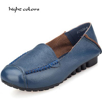 Plus Big Size 40 43 Hot New 2014 Cowhide Genuine Leather Loafers Gommini Single Shoes Black