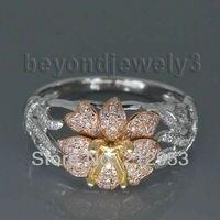 Okrągły 5mm Solidna 18Kt Wielu Tone Two Tone Ustawienia Pierścionek zaręczynowy, diament Fine Jewelry SR352A