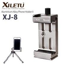 Xiletu tripé para celular XJ 8, suporte de cabeça para lanterna, microfone com nível de espírito e montagem de sapato frio