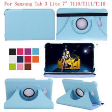 "360 Derajat Berputar Smart Case Samsung Galaxy Tab 3 Lite 7.0 ""T110 T111 T113 T116 Coque Funda Pu Kulit flip Stand Tablet Cover(China)"