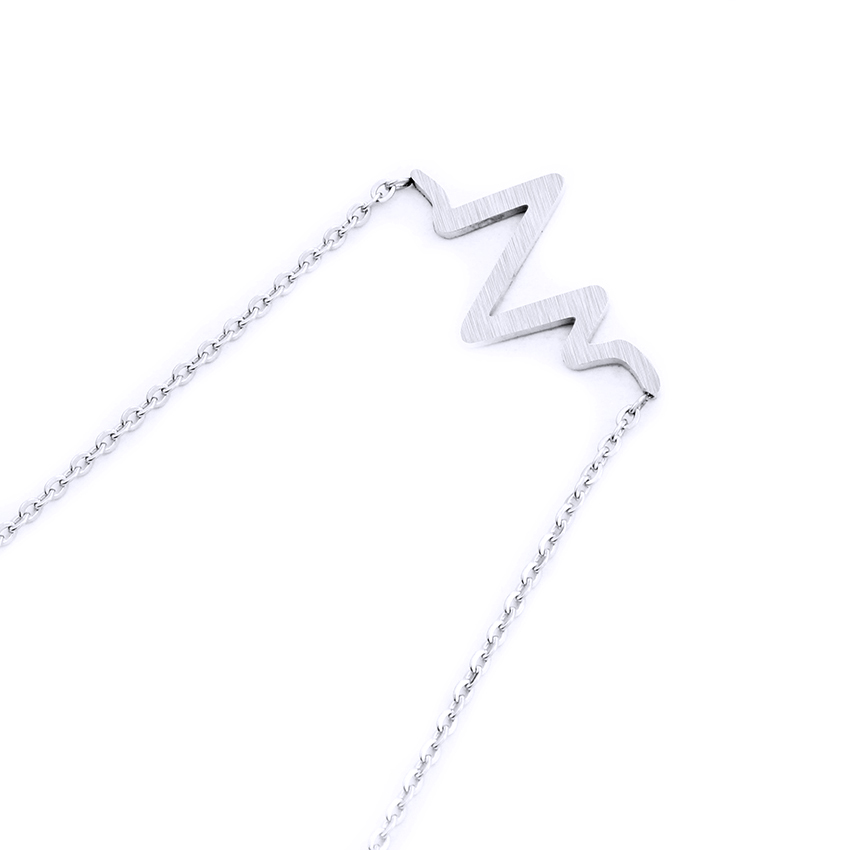 Minimalist Heart Beat Wave Necklace Stainless Steel Rose Gold Color - Fashion Jewelry - Photo 5