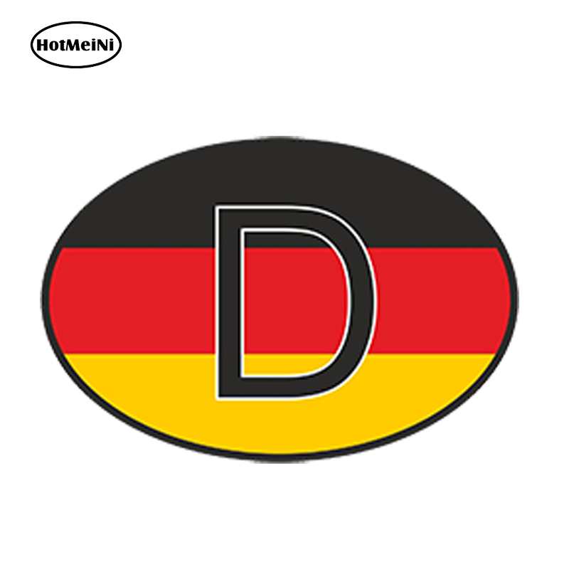 HotMeiNi 13 x9.1cm Car Styling D Germany Country Code Oval With German Flag Car Sticker Helmet Waterproof Bumper Accessories argentina ra for republica argentina in spanish and argentinian flag car bumper sticker decal oval