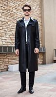 New Fashion 2015 single-breasted Slim Fit Long Trench Coat Men Motorcycle Leather Jacket Mens Black Jackets And Coats M-4XL