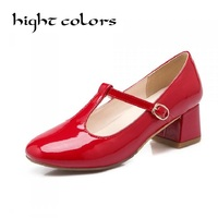 Sexy Japanned Leather Women Sweet Lolita Bowknot Cuban Low Heel T Strap Mary Janes Pumps For