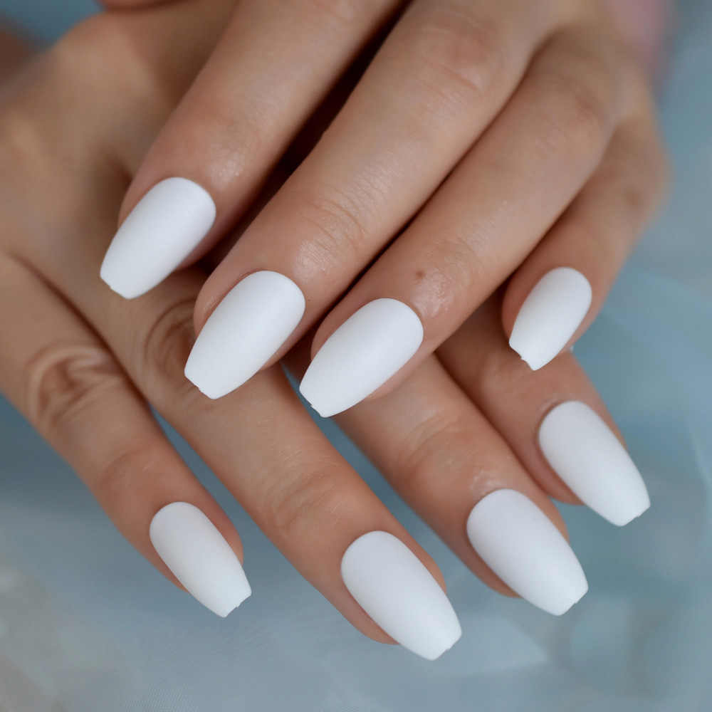 Solid White Frosted Fake Nails 24Pcs Matte False Nail Full