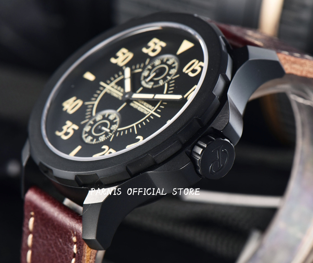 Mechanical Watches Tourbillon Men Watch Parnis 44mm Power Reserved Sapphire Luminous Genuine Leahter Steel Black Watches Relojes сумки reserved сумка