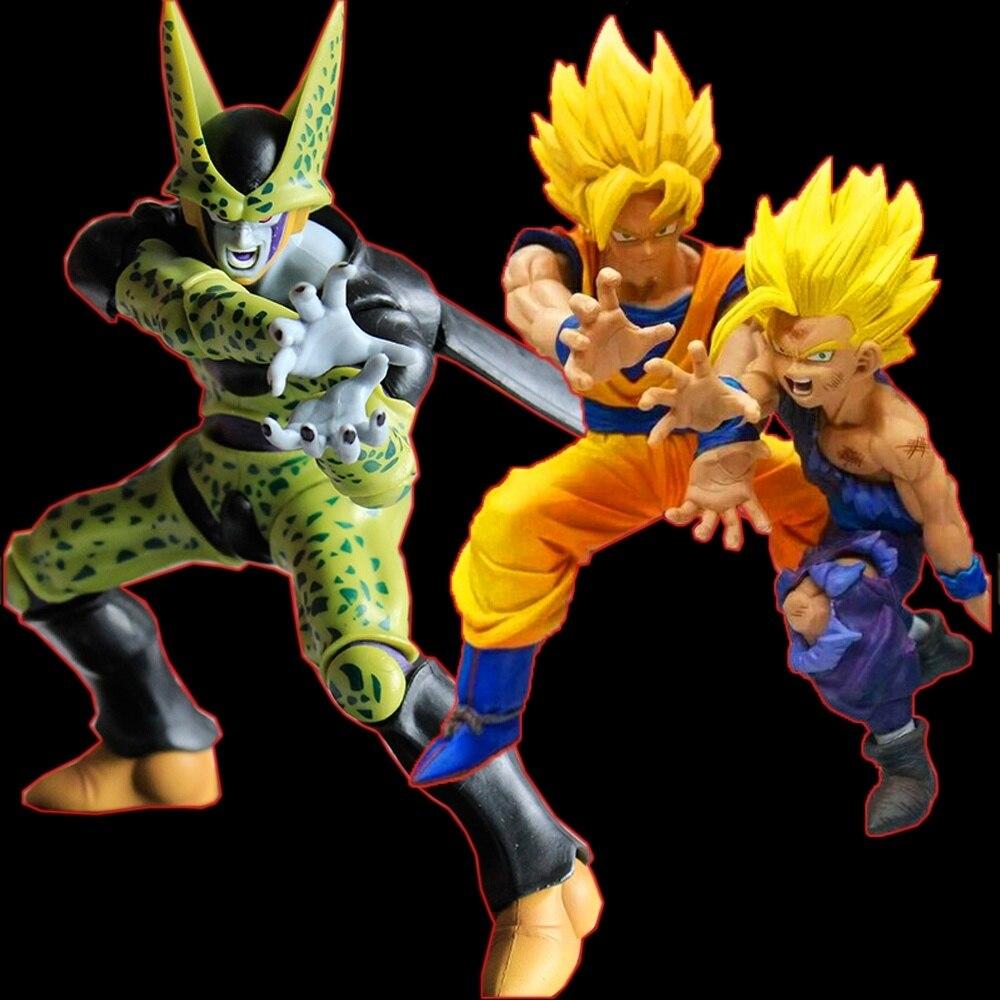 Anime Dragon Ball Z Figurine Super Saiyan Son Goku and Gohan vs Cell PVC Action Figures Model Toys saintgi goku dragon ball z action figures super saiyan son kaiouken pvc 14cm anime juguetes dragonball z esferas del