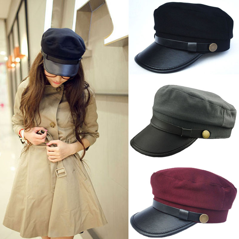 61818fe4 2015 Vintage Style Unisex Men Women Caps Leather Buckle Army Cadet Military  Navy Sailor Hat Flat Top Cap 3 Colors-in Holidays Costumes from Novelty ...